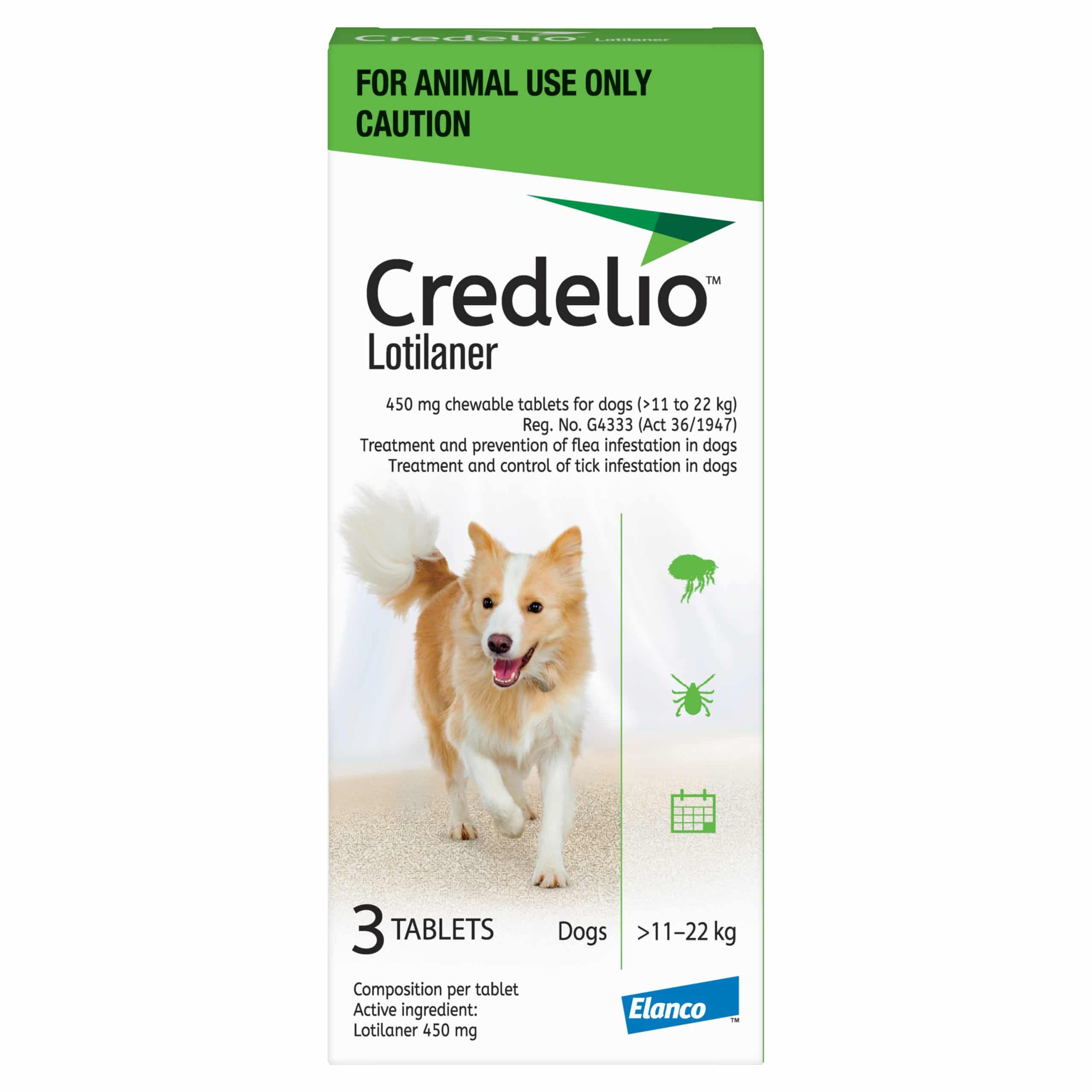 CREDELIO LARGE 450MG (11 - 22KG) GREEN
