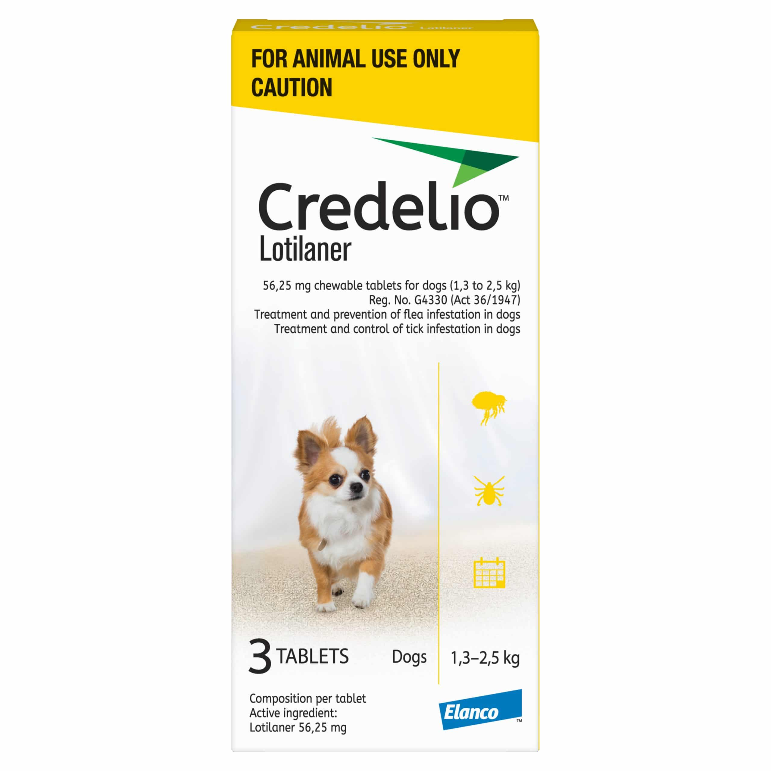CREDELIO TOY 56.25MG (1.3 - 2.5KG) YELLOW *ON SPECIAL - PRODUCT EXPIRY DATE 08/2021 - WHILE STOCKS LAST*