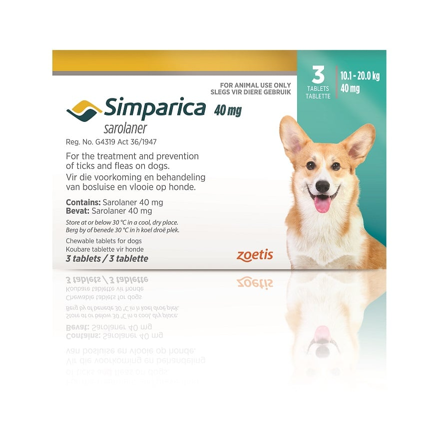 SIMPARICA 10-20kg (40mg) 3 tabs TURQUOISE **ON SPECIAL** #Product expiry date 06/2021#