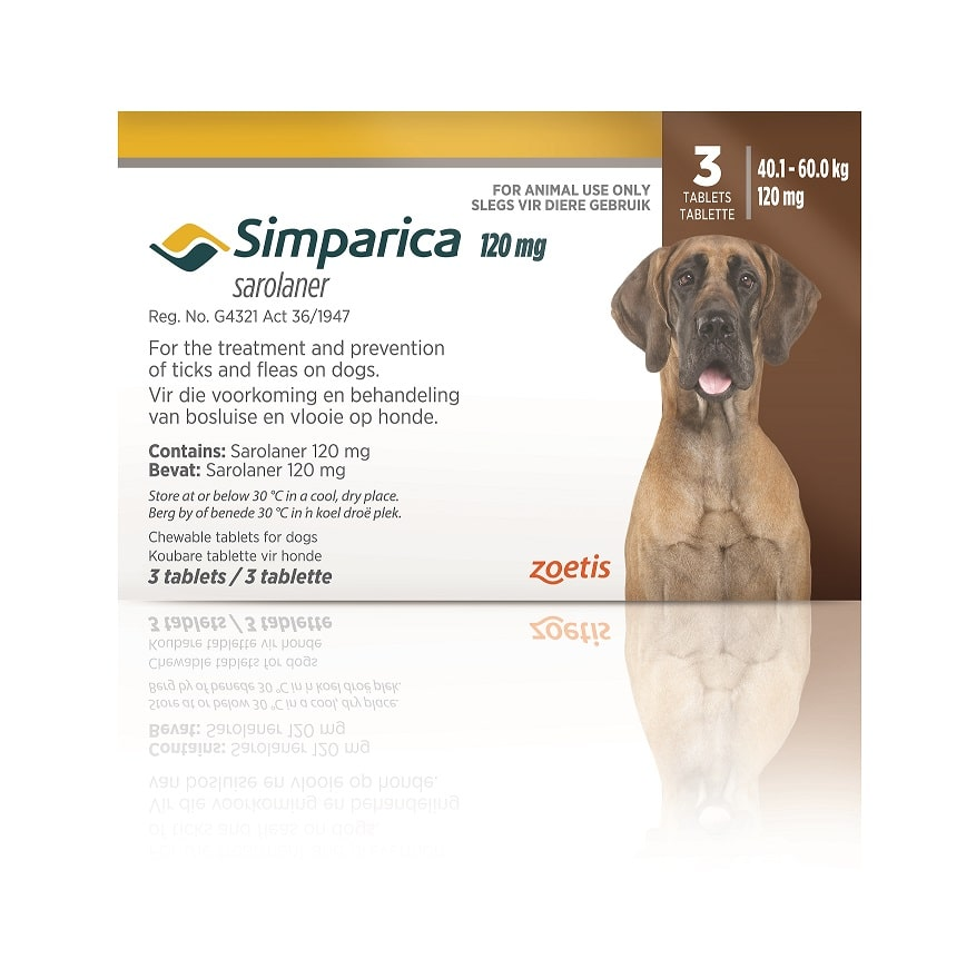 SIMPARICA 40-60kg (120mg) 3 tabs DARK BROWN **ON SPECIAL** #Product expiry date 04/2021#
