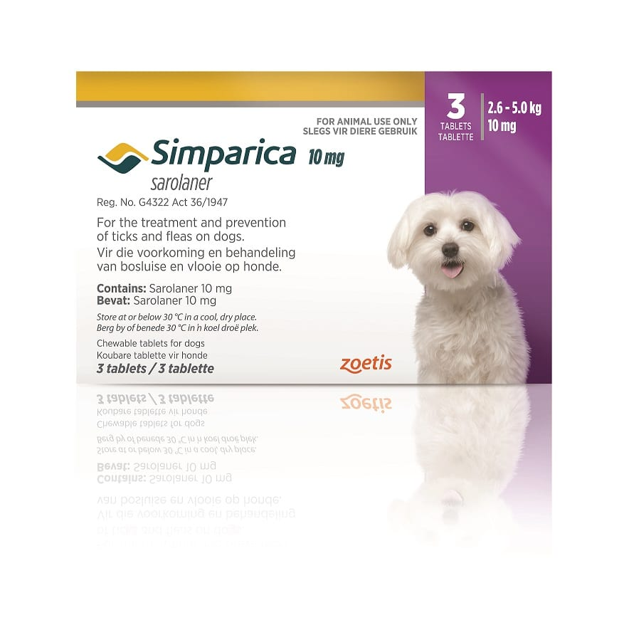 SIMPARICA 2.5-5kg (10mg) 3 tabs PURPLE **ON SPECIAL** #Product expiry date 04/2021#