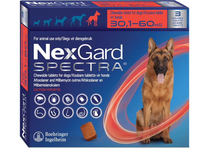 NEXGARD SPECTRA  Red  3 pack chew, XLarge 30.1-60kg  **ON SPECIAL** #PRODUCT EXPIRY DATE 02/2022#