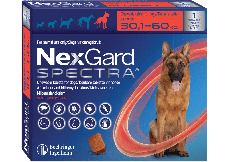 NEXGARD SPECTRA  Red Single chew, XLarge 30.1-60kg **ON SPECIAL** #PRODUCT EXPIRY DATE 01/2022#