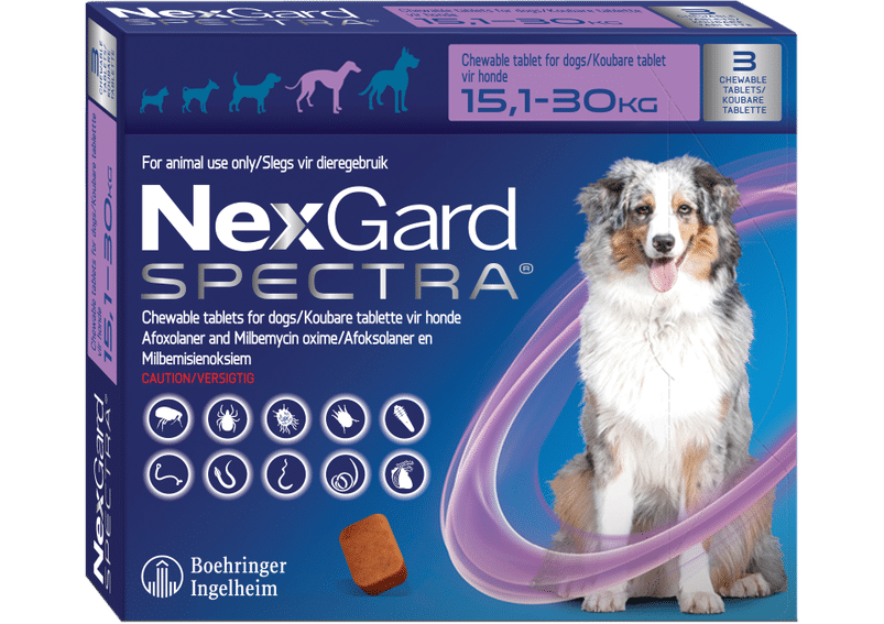 NEXGARD SPECTRA  Purple 3 chews Large 15.1-30kg *ON SPECIAL* **Product expire 01/2022**
